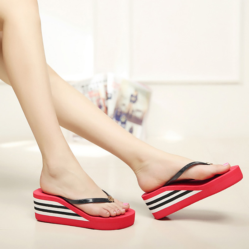 Free Shipping High Heels Sandals Slippers Rainbow Non-Slip Thick Soled Platform Wedge Women Slippers Summer 2016 Beach Slippers