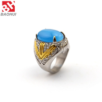 Popular Silver Stainless Steel Crystal Blue Opal Ring