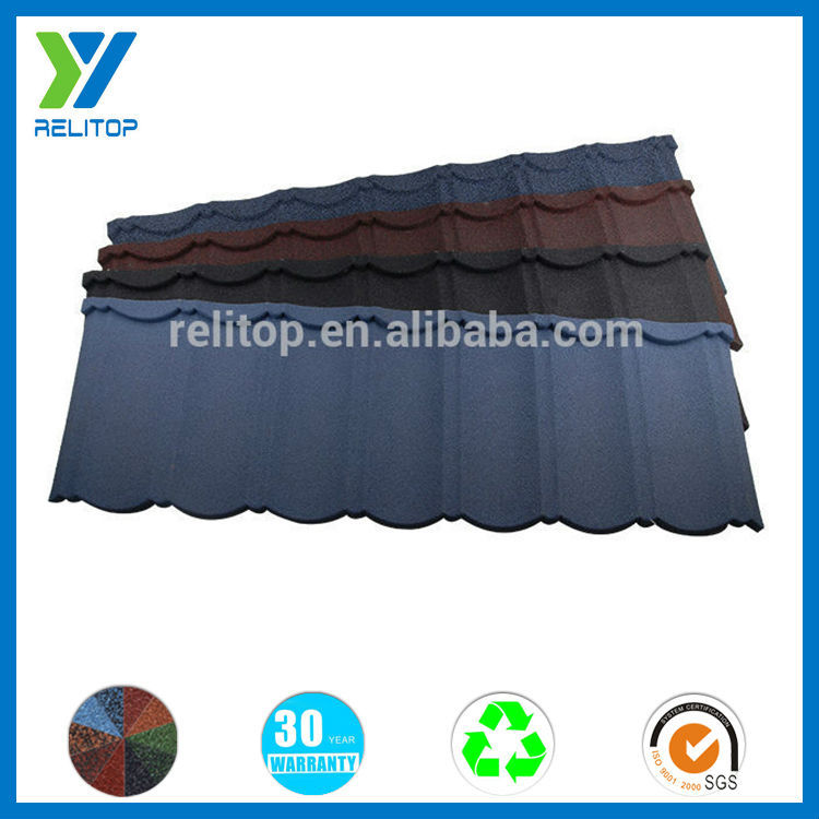 Stone coated classic mix color curved decorative metal roof tile