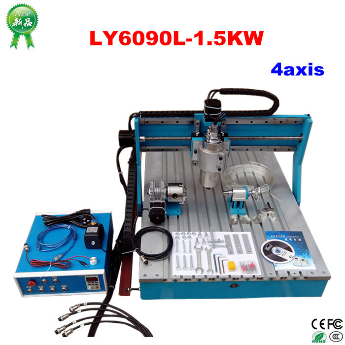 ly 6090 4 Axis cnc engraving Machine with 1.5KW VFD water cooled spindle, CNC Milling machine