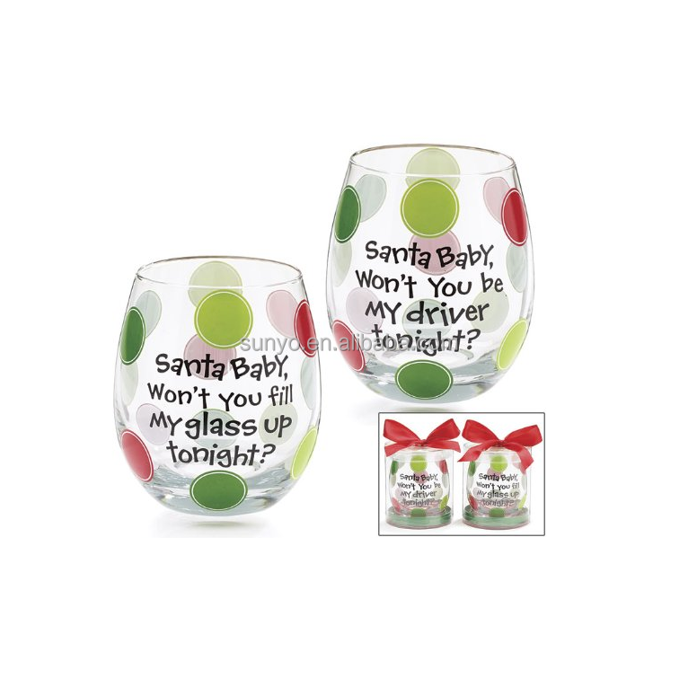 Customized stemless wine glass egg shaped with gift box colored drinking water glass for christmas gift