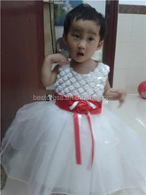 Walson Instyles Fancy White Cap Sleeves Square Neck Ball Gown Tulle Flower Girl Dress