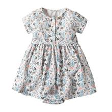 Cotton Printed Short Sleeve <strong>Girl's</strong> <strong>Dress</strong> Summer Rompers <strong>Dress</strong> for Baby