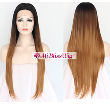 22 Inch Long Straight Heat Resistant Fiber Hair Middle Part Dark Roots Dark Brown Light Brown Ombre Lace Front Synthetic Wig