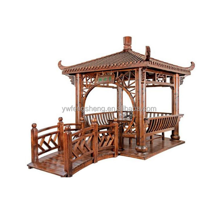 2017High Quality Outdoor Garden Gazebo Six Corner The Solid Pagoda Series For Wholesales Wooden Pavilion