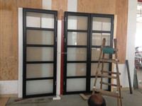 Modern Design Automatic aluminum and glass garage doors with glass pocket doors