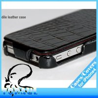 For iphone 4 4s luxury black bright crocodile pattern genuine leather cell phone case