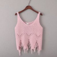 Knit Sleeveless Vest Simple Fashion Old Tattered Irregular Sexy Small Tank Tops