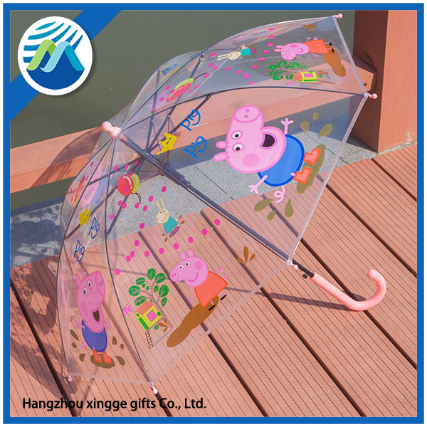 Peppa Pig Kid Auto Promotion Transparent Rain Umbrella
