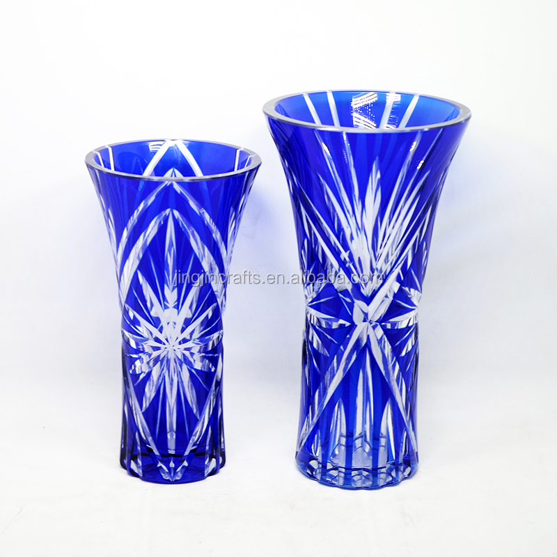 New custom hand cut to clear crystal flower vase hand blown glass vase