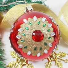 special glass ball christmas tree decoration with rhinestones