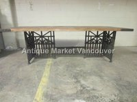Industrial Style Dining Table with Wooden Top