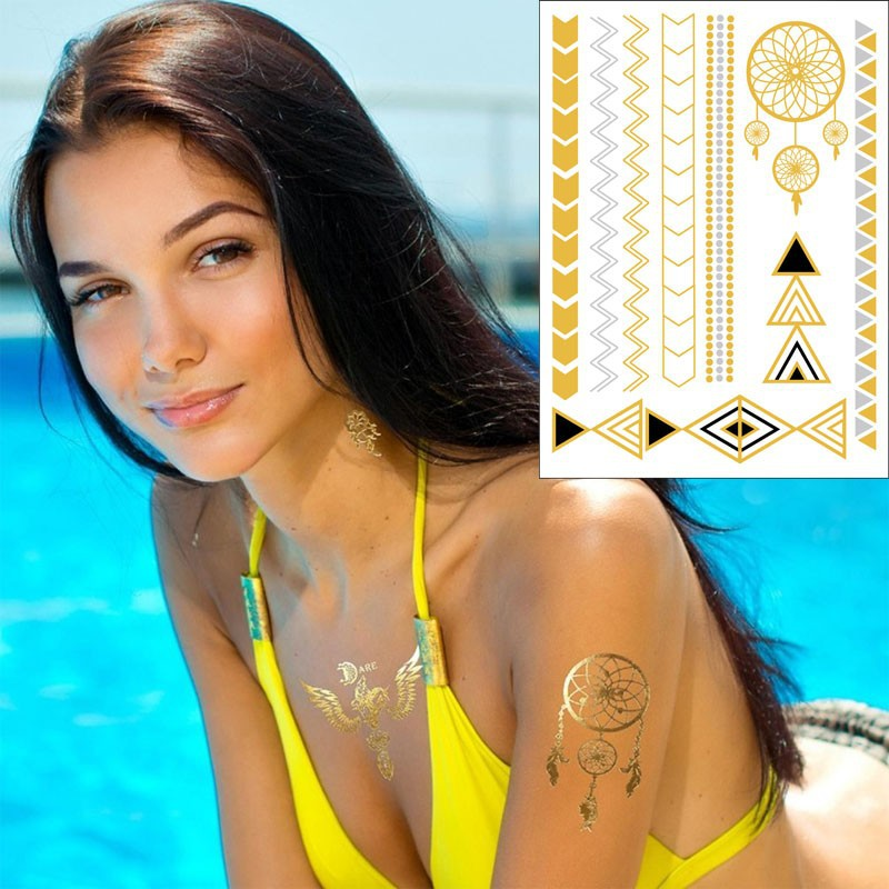 2015 wholesale flashion customized gold and silver temporary metal tattoo