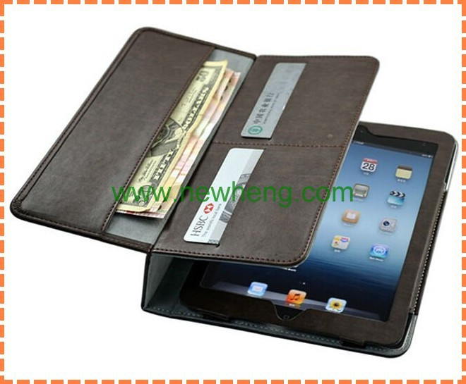 handle hold Wallet leather case for Ipad air 5