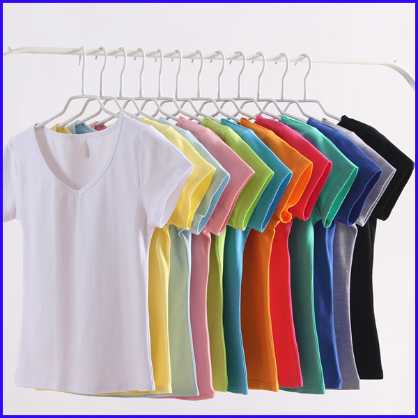 All basic colour 100 cotton blank tshirts top selling vneck t shirts for ladies