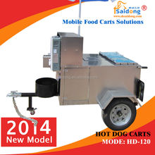 hot selling mobile hot dog cart,hot dog kiosk,burger kiosk with wheels and towbar