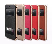 2015 New arrival book style double window view leather phone case for iphone 6