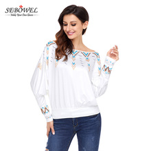 Fast Shipping Fashion Ladies Plus Size Batwing Sleeve Printed Latest Women Tops
