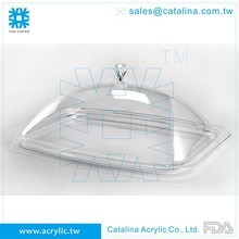 Taiwan Manufacturer High Quality Crystal Acrylic Clear Serving Tray with Cover