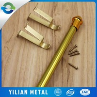 self-adhesive curtain rod brackets golden color finish with screws and fittings