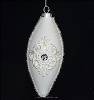 Special import opportunities, white drop-shaped glass art craft with cloth flower as decoration for wedding or christmas