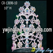 wholesale flower fleur de lis AB stone pageant crowns and tiaras