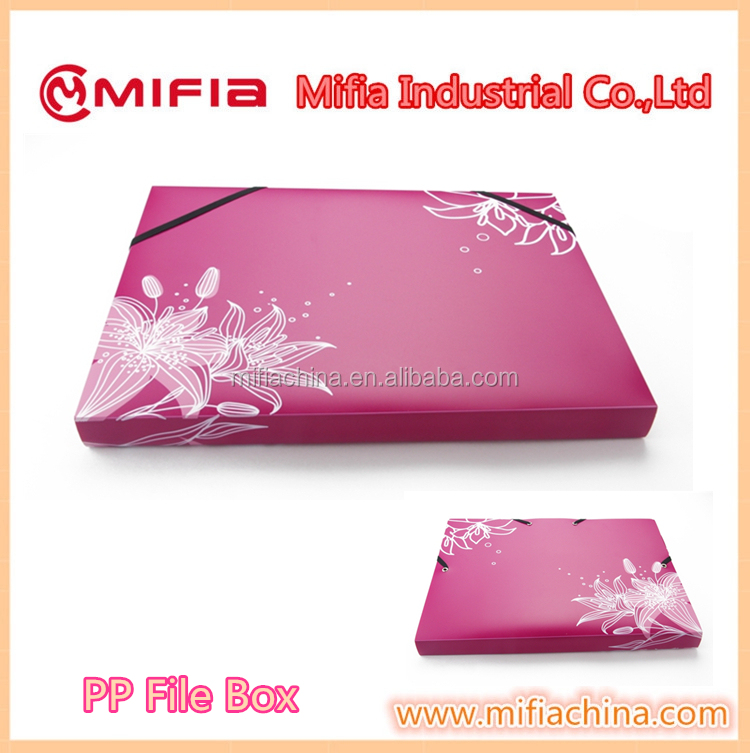 customized office pp document filing case A4 size Plastic Document File Box with printing