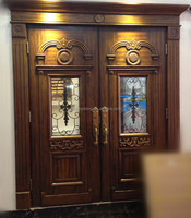 Solid Wood & oil painted main double door design for villa & house, luxury & decorative