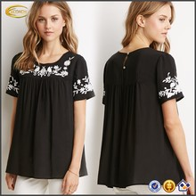 China manufacturer wholesale classic Southwestern-style motifs short sleeves Floral Embroidered Top chiffon style blouse