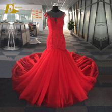 Stunning Red Color Mermaid Beaded Lace Appliqued Real Wedding Dress