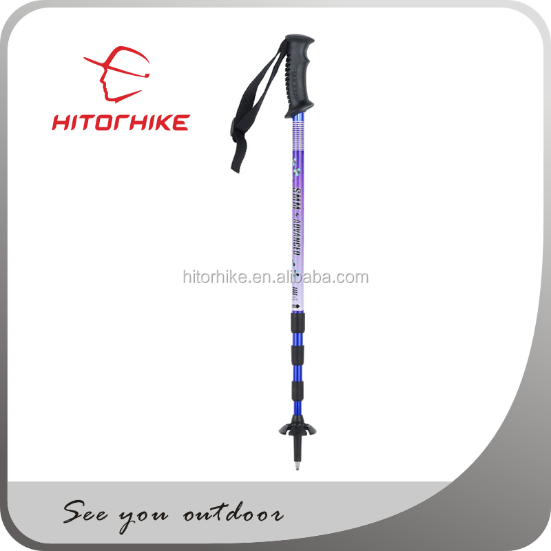 4 section Aluminum telescopic stick Walking Stick with Hand-Carved Spiral Design and Knob Top