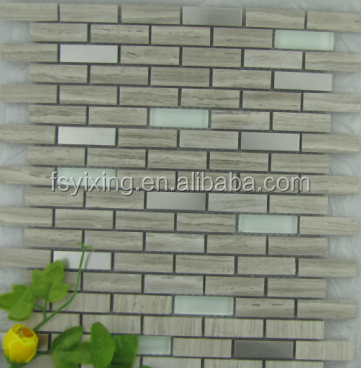 Hot sale metal mix stone glass mosaic tile decorative <strong>wall</strong>