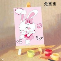 wholesales A171 rabbit picture animal design painting by numbers on canvas with wood easel