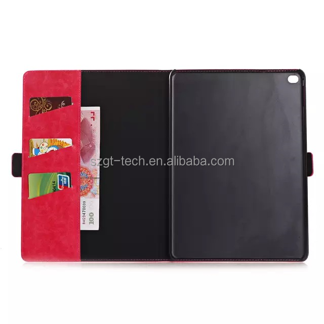 Multinational book style flip sticker tablet case for ipad ,oil leather case for ipad air2 9.7'