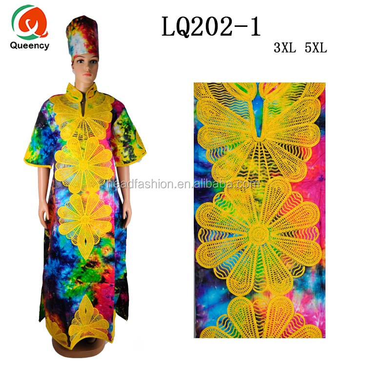 LQ202 Queency High Quality Embroidered Bazin Maxi Dress African Women Clothes for Sale