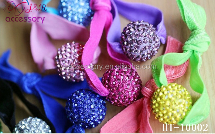 Hot sale cute multicolor crystal ball hair elastic tie