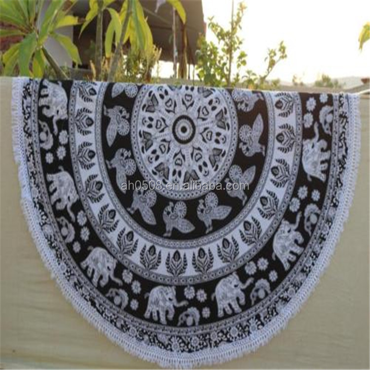 New Design Indian Elephant Mandala Round Tapestry Beach Throw Picnic Throw Towel yoga Mat Summer Swimming Sunbath Towels