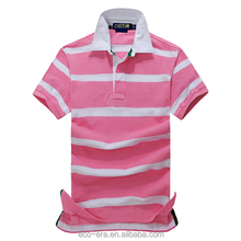 High Quality Pink And White Striped Polo Factory Direct Wholesale Clothing