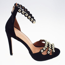 Gold Button Black Suede Fashionable Handmade Shoe High Heels
