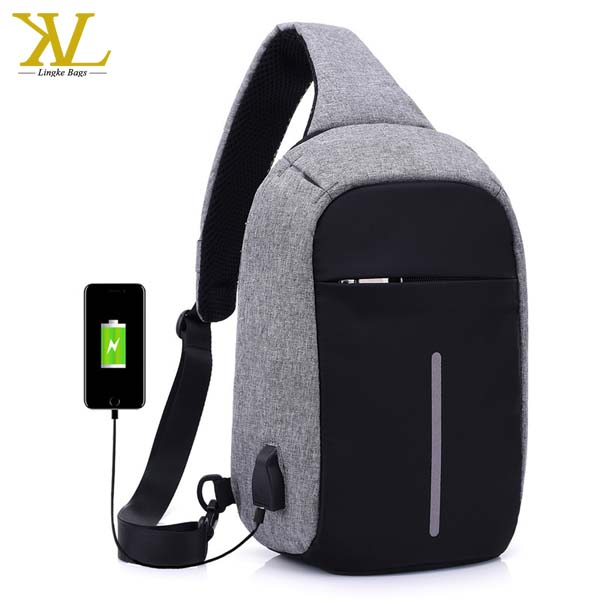 Hot Casual Water Resistant Reflective Daypack Men Women Crossbody Shoulder Chest Bag Anti Theft Backpack With Usb Cable Charger