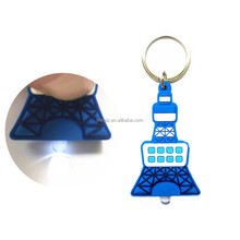 High brightness custom pvc keychain with led light