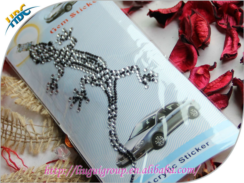 charming design customized lizard shape diamond type car cell phone mirror window decorative rhinestone sticker