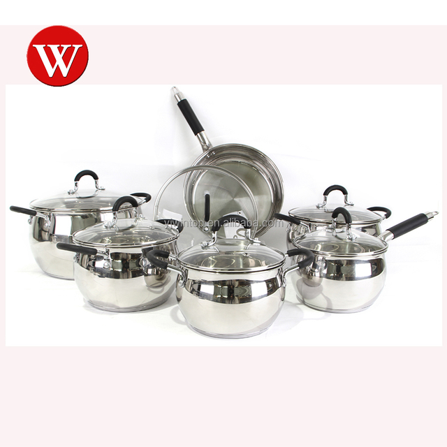 Kitchen Cooking Classical 18 / 8 Stainless Steel Polishing Apple Shape Silicone Handle Cookware Casserole Set