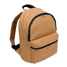 China factory outlet washable kraft paper backpack,lightweight simple school bags,brown kraft paper hiking backpack bag