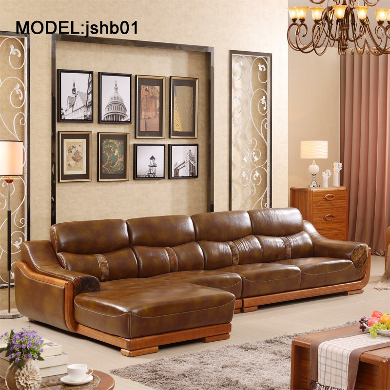 Modern Chinese style furniture sofa three people leather sofa