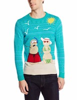 Men Light Blue Sweater Snowman Couple Pattern Ugly Christmas Sweater