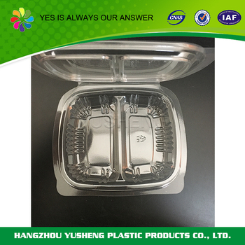 Disposable two compartment clamshell container,PET plastic food packaging box