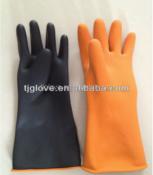 Black Industrial Latex Glove/heavy duty black latex glove /sun brand
