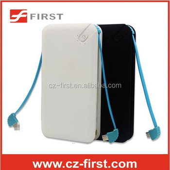 Credit card portable 8000mAh Power bank Li-polymer external battery with Built-in two external charging Cable