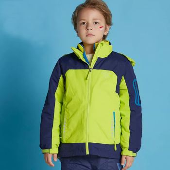 Boy nylon reflective detachable hood inner waterproof softshell winter jacket